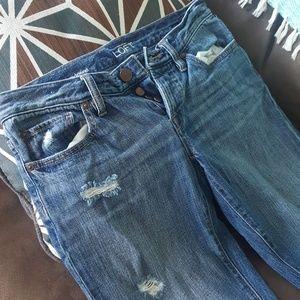 LOFT Jeans - Casual boyfriend cut distressed Loft 15 inch waist
